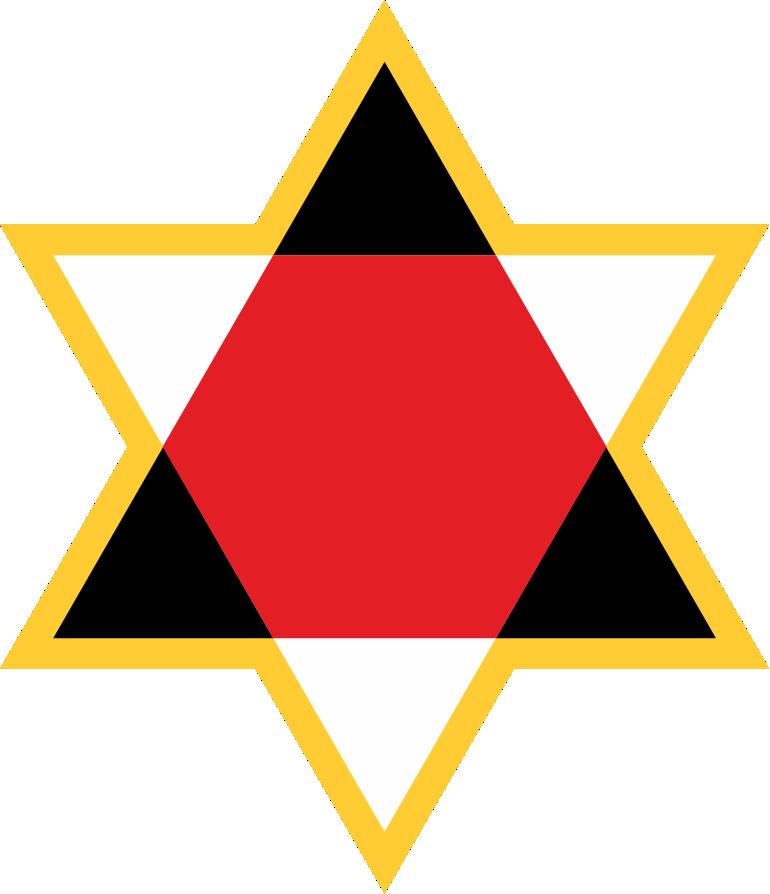 Tripliciteit gesymboliseerd in de kleuren van de guṇas